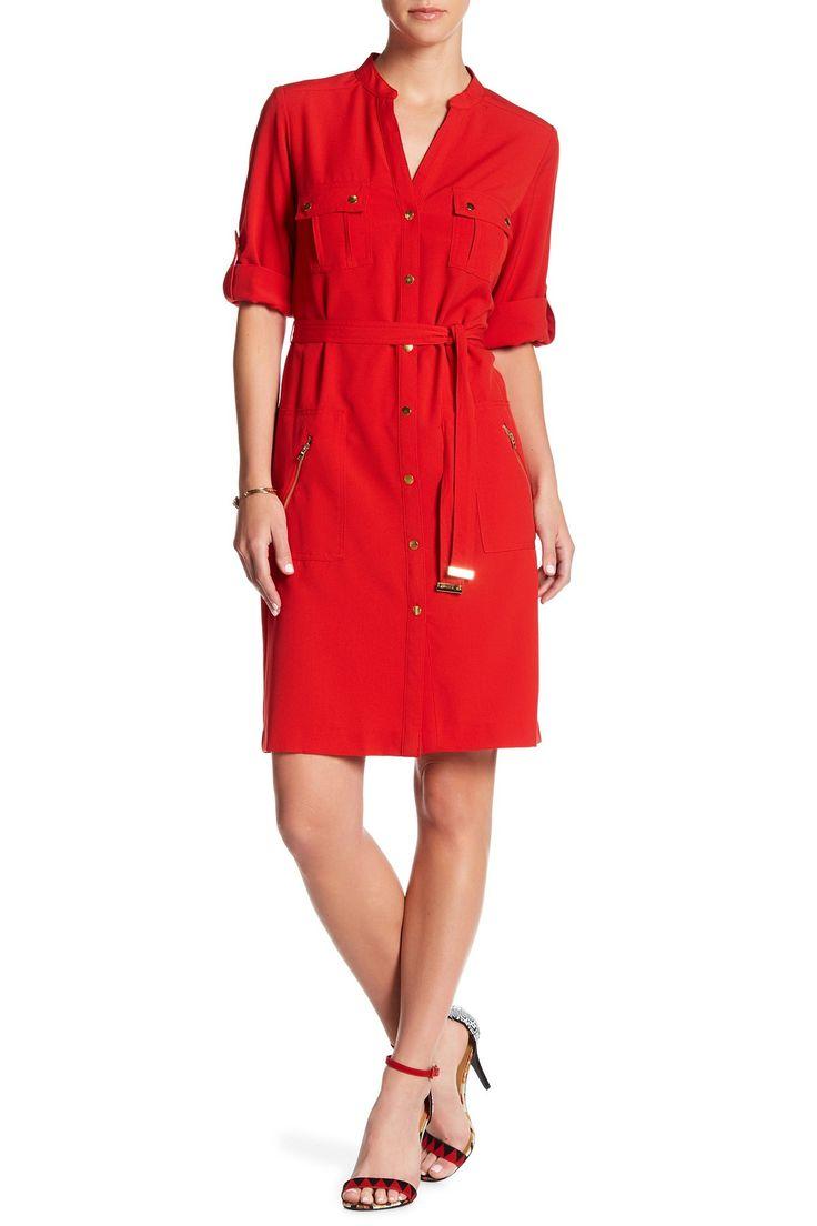 Split Neck Front Button Dress