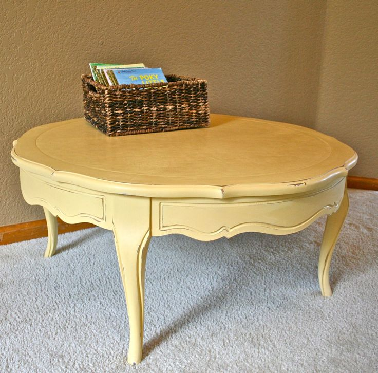 Round Yellow Coffee Table  Sherwin Williams Bees Wax