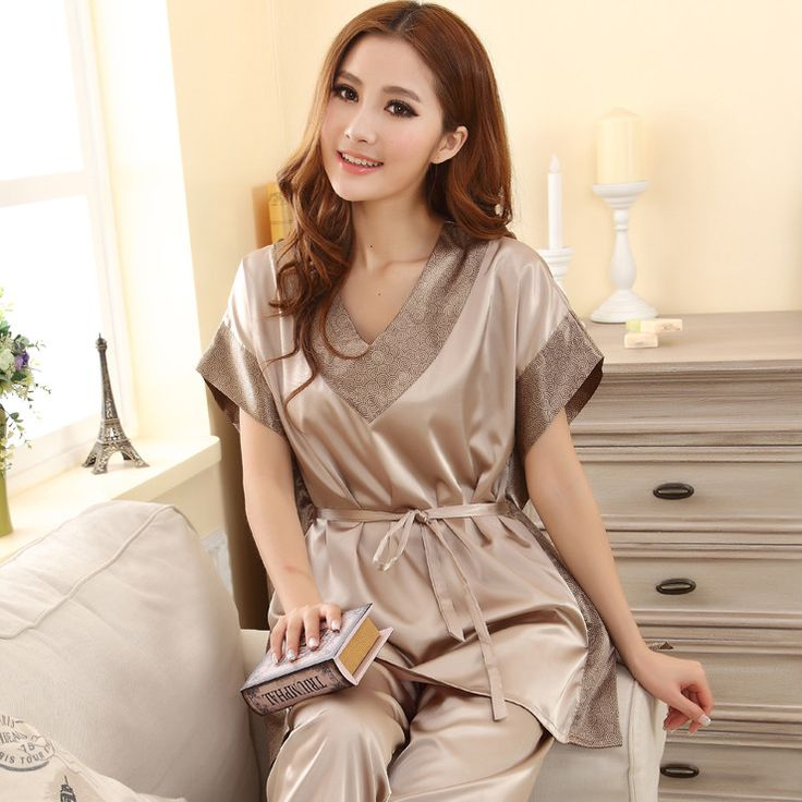 Summer 2016 Women Sexy Silk Pajamas Fashion Solid Color Sleep set V-neck Short-sleeves Silk Plus Size Lounge Female Sleep Tops