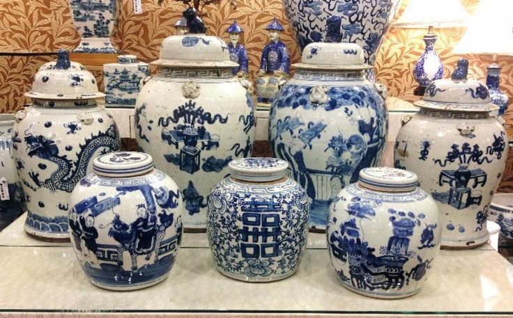 Eclectic Collection of Blue and White Ginger Jars w/ Terra Cotta Colored Patterned Wallpaper