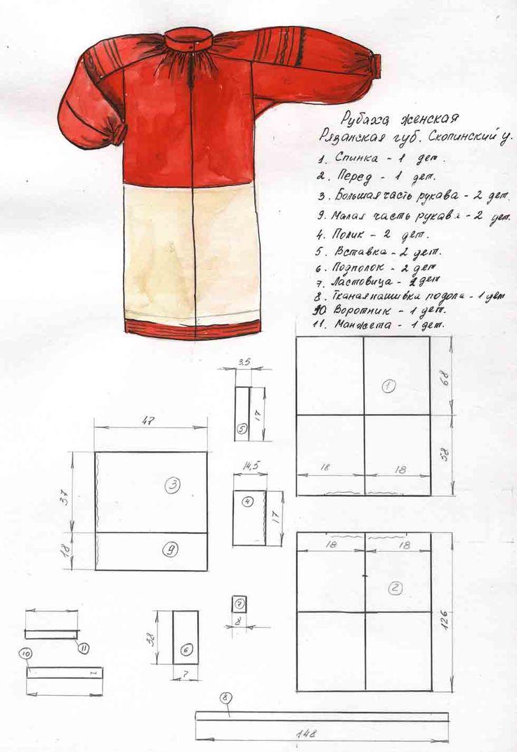 Картинки по запросу выкройка русской женской рубахи
