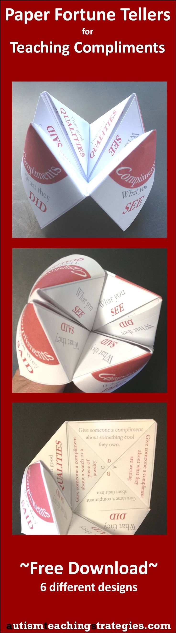 "This paper ""fortune teller"" is part of set of six. Lots more materials on this website on teaching the social skills of giving and receiving compliments."