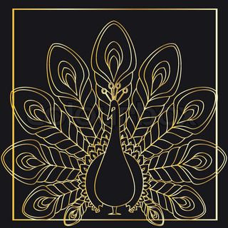 the abstract gold vector peacock eps file