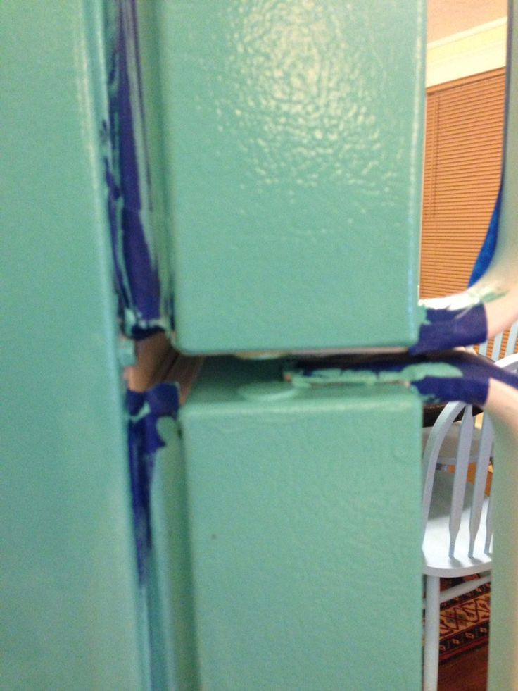 Step by step painting a refrigerator. (turquois)