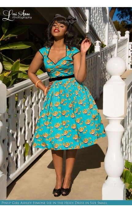 Pinup Couture- Heidi Dress with Gathered Skirt in Mary Blair Cat Print | Pinup Girl Clothing