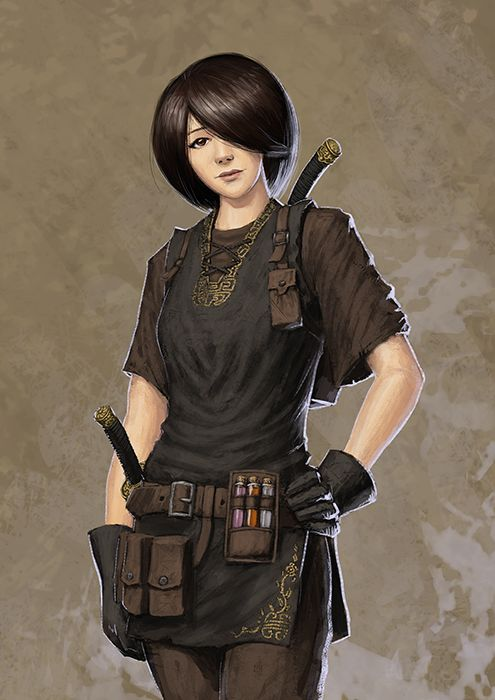 This could be summer uniform, except the sleeves would be long, and there probably ought to be some light armor.