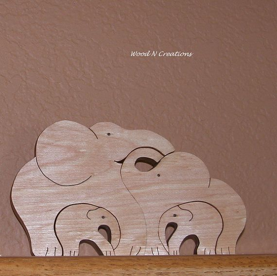 Elephant Family of Four by WoodNCreations on Etsy, $24.00