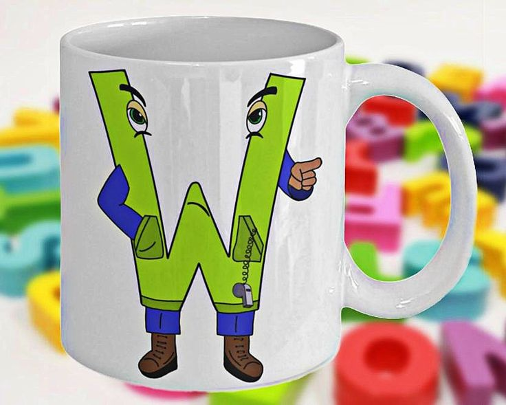 Alphabet Mug with Funny ABC Cartoon Characters as Children's Initials, Fun Gift for Kids, Letter W, 11oz, White Ceramic, Double-Sided Print by PortunaghDesign on Etsy