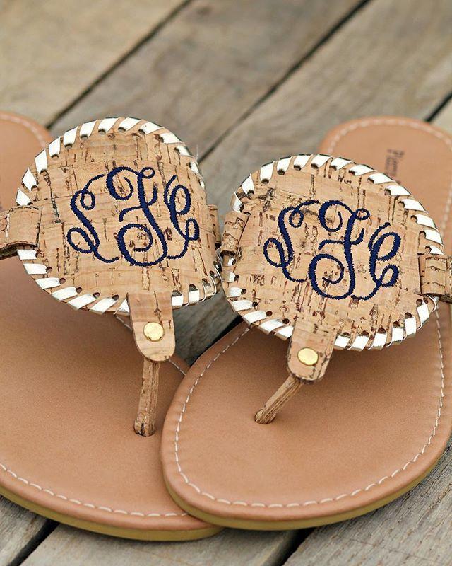 Under the Boardwalk Sandals with Monogram - Tan