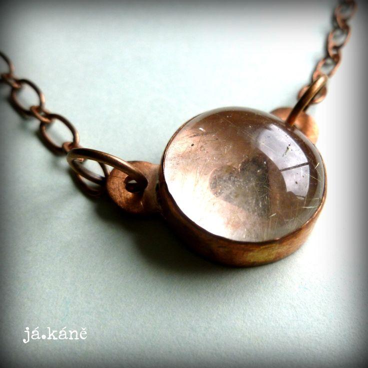 Rutilated quartz pendant copper necklace Rustic boho necklace heart necklace by jakanestudio on Etsy