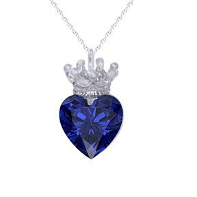 "Custom Blue Sapphire September Birth Stone Heart Necklace with Crown 18"" Chain # Free & Fast Shipping by JewelryHub on Opensky"