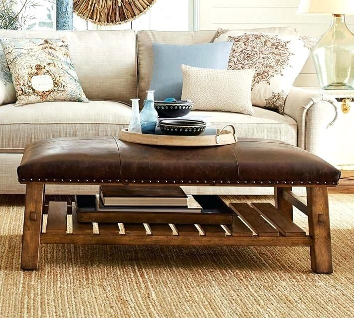 Rectangle Leather Ottoman Coffee Table In 2020 Leather Ottoman