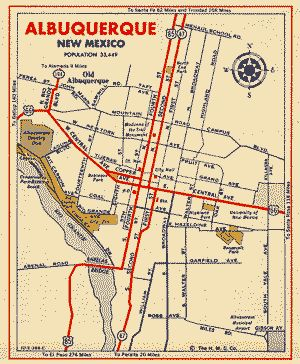 1940s map of Albuquerque, NM
