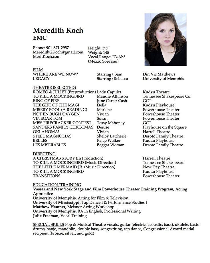 30 Beginner Acting Resume Template in 2020 Acting resume