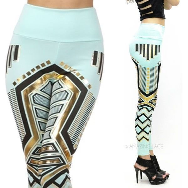 ✔ Mint Aztec Tribal Metallic Gold Foil High Waist Fashion Pants Robot Leggings | eBay