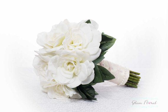 Gardenia Bridal Wedding Bouquet. Cream White Ivory Pink Real Touch Flowers. Greenery