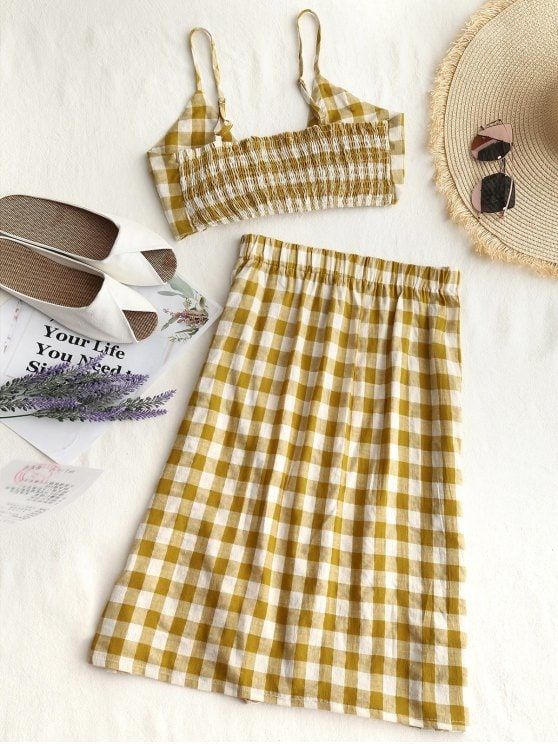 Checked Crop Cami Top and Skirt Set - GINGER
