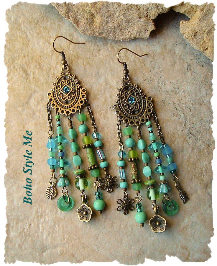 Boho Style Earrings, Blue and Green Gypsy Earrings, Bohemian Jewelry, Unique Assemblage Earrings, BohoStyleMe, Kaye Kraus by BohoStyleMe on Etsy