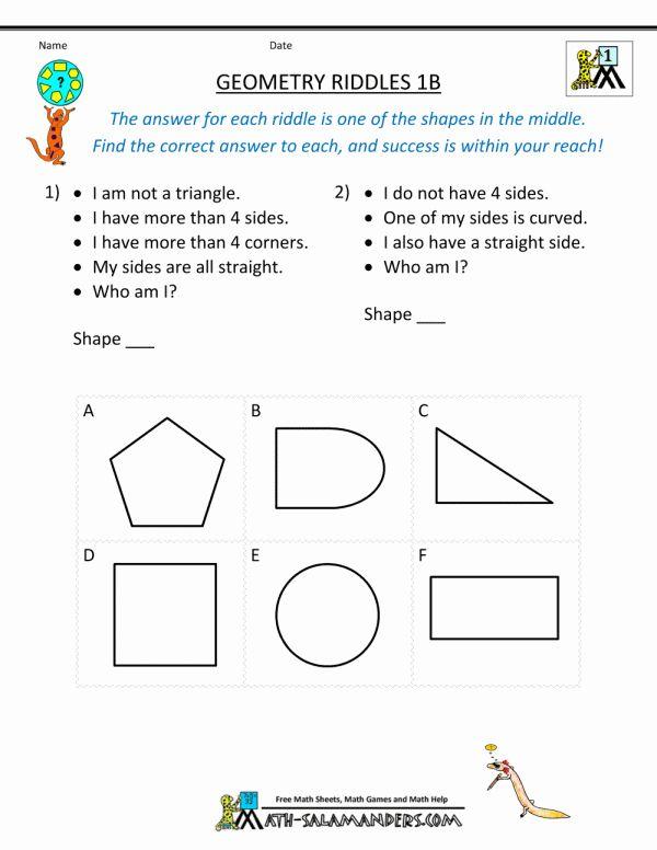 Kindergarten Riddles Worksheet And Printable Geometry Worksheets