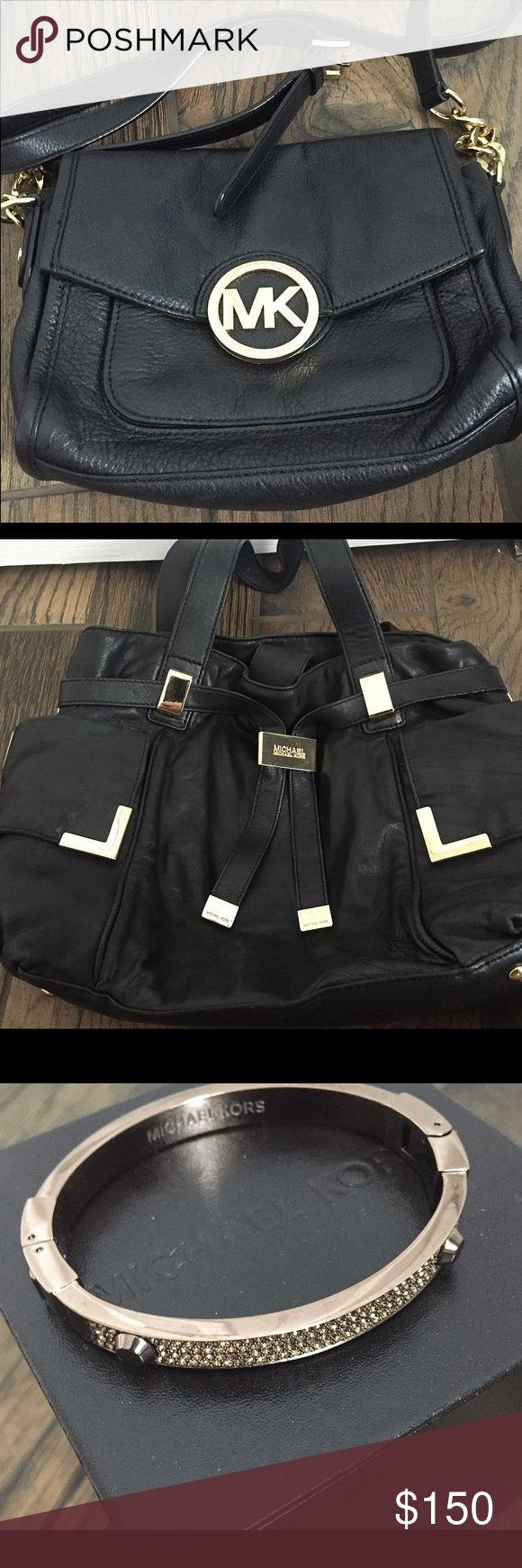Gently Used MK purses and jewelry! Black cross body, tote, camel tote and wallet, rose gold card holder, tortoise watch, gold watch, white watch, bronze crystal bangle. Bags Shoulder Bags