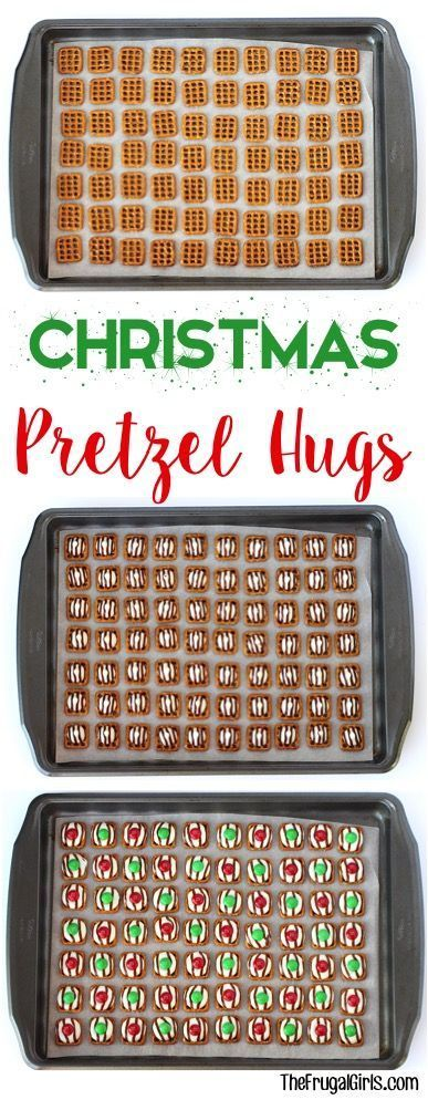 Christmas Pretzel Hugs Recipe! ~ at http://TheFrugalGirls.com ~ Go grab some Hershey Hugs and M&Ms... your family and guests will crazy over these easy little dessert bites! #recipes #thefrugalgirls