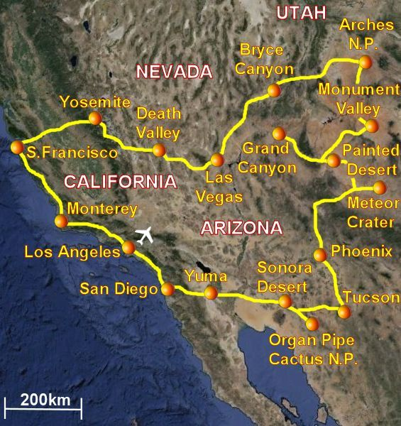 South West USA travel map