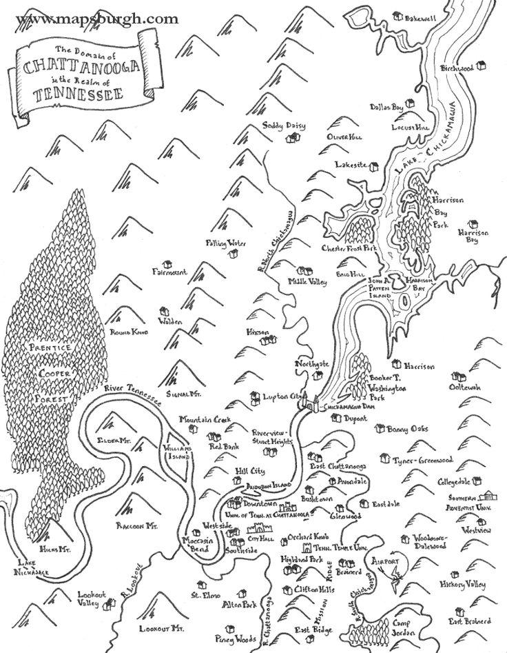 25 legjobb tlet a pinteresten a kvetkezvel kapcsolatban fantasy map of chattanooga tennessee buy a print on etsy malvernweather Images