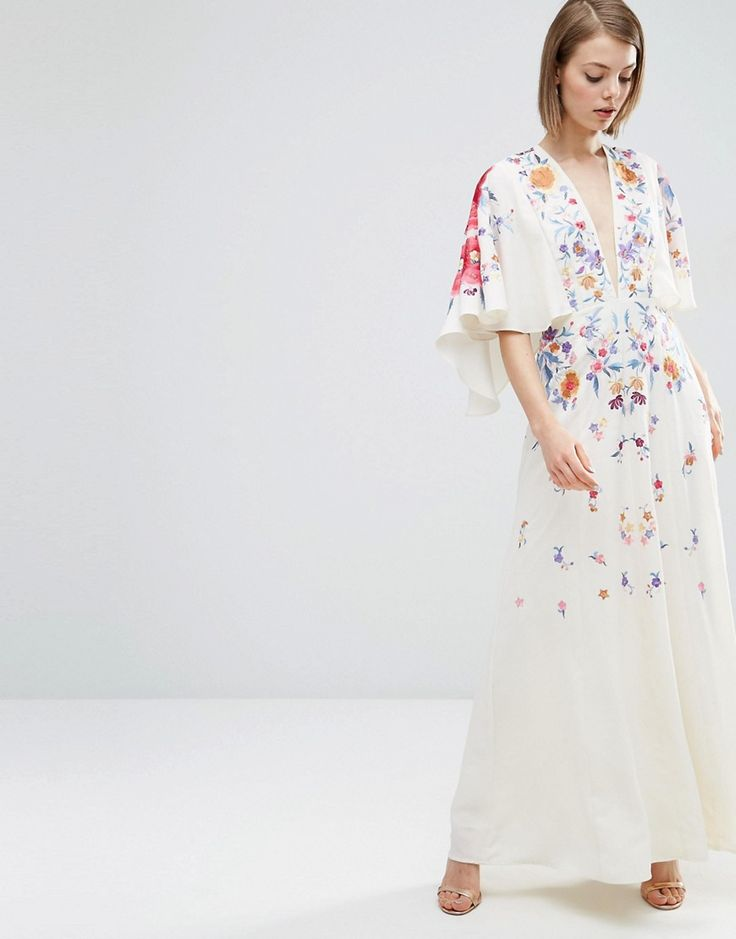 Probably not, but interesting: ASOS Embroidered Kimono Deep Plunge Maxi Dress