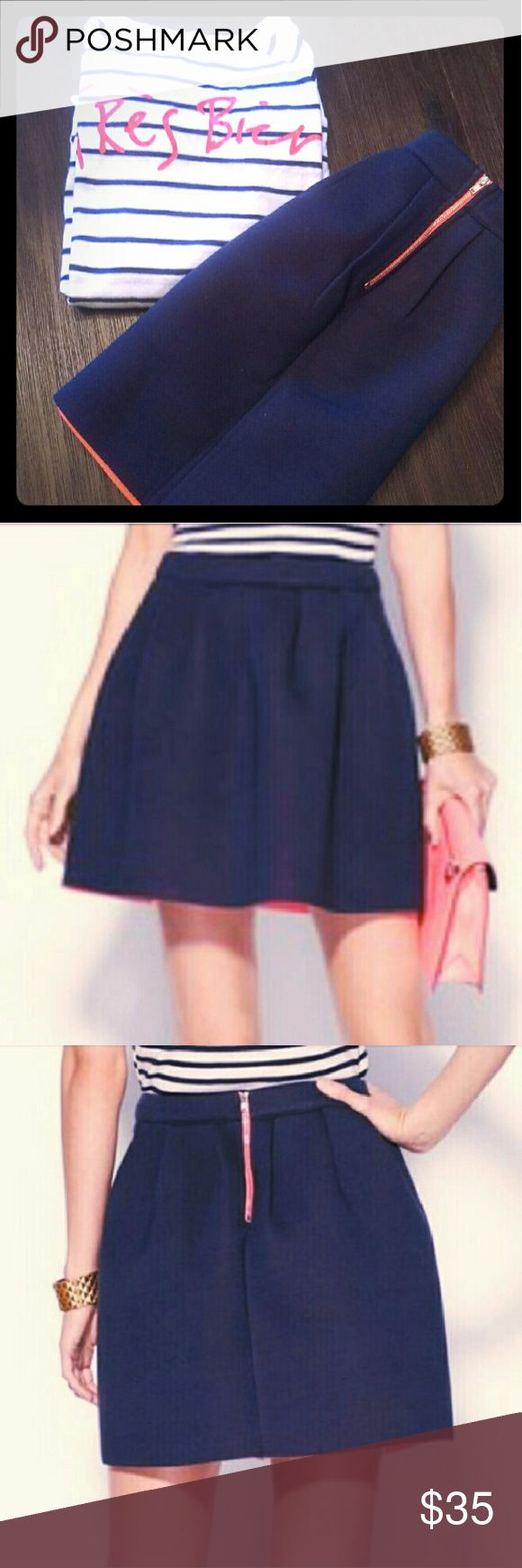NWT! Pure Sugar Navy Neoprene Skate Skirt - Size M New, navy, coral lined, skater miniskirt! Pair with nautical, striped top for a cute look! Pure Sugar Skirts Circle & Skater