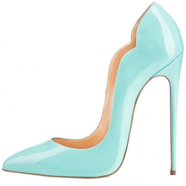 Turquoise Heels Patent Leather Stilettos Pumps for Office Lady ( 60) ❤  liked on Polyvore featuring shoes ca79c7f85660