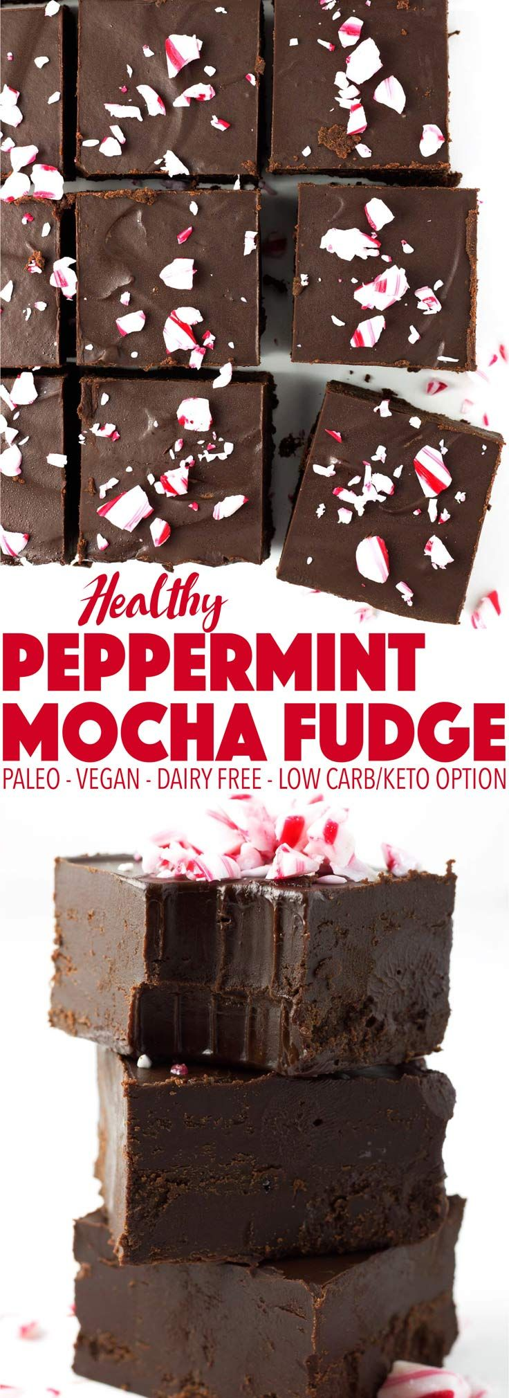 Easy to make and perfect for the holiday season! This peppermint mocha fudge is delicious as a Christmas dessert. It's paleo, vegan, dairy free, and can be made keto and low carb!