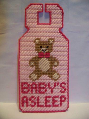 Handcrafted_BABY'S ASLEEP_BABY GIRL_COMPLETED_Plastic Canvas,Door Hanger_NEW!