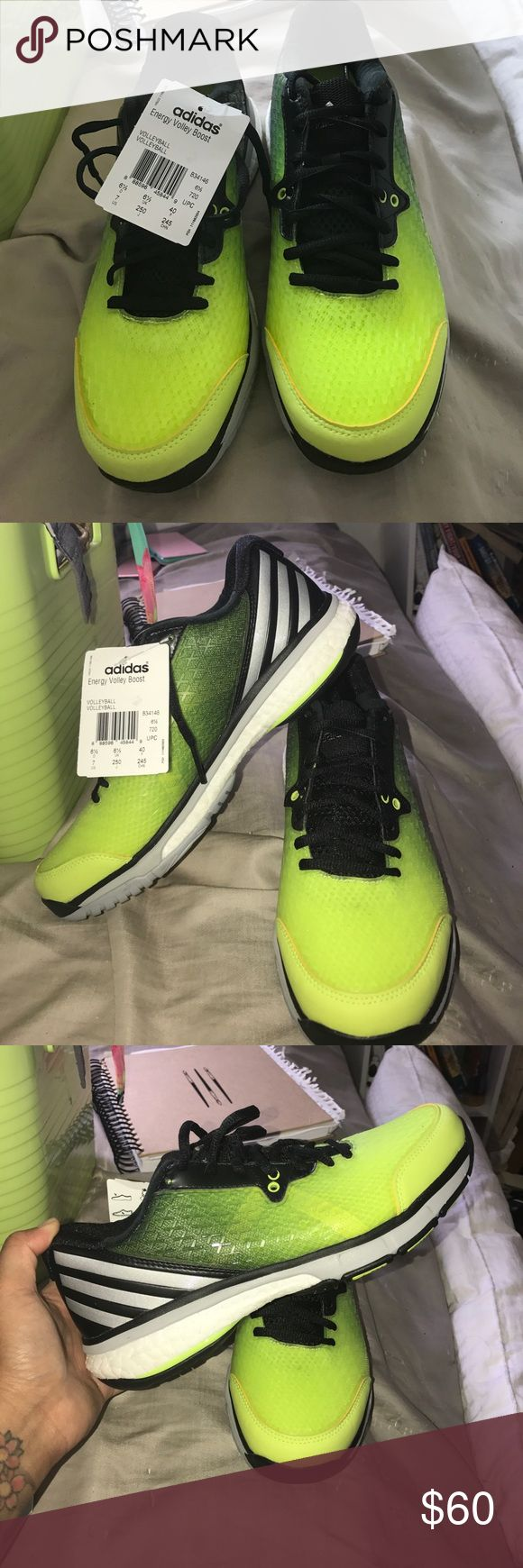 Adidas Volleyball Boost Shoes Unisex High Quality Volleyball Shoes, Lime Green Yellow and Black. Women size 9  Mens 7 adidas Shoes Athletic Shoes