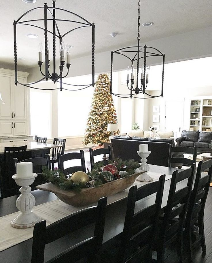 Farmhouse Kitchen With Dark Cabinets: Eat-in Kitchen, Farmhouse Dining Table Overlooking Christmas Tree, Two-tone Kitchen, Black And