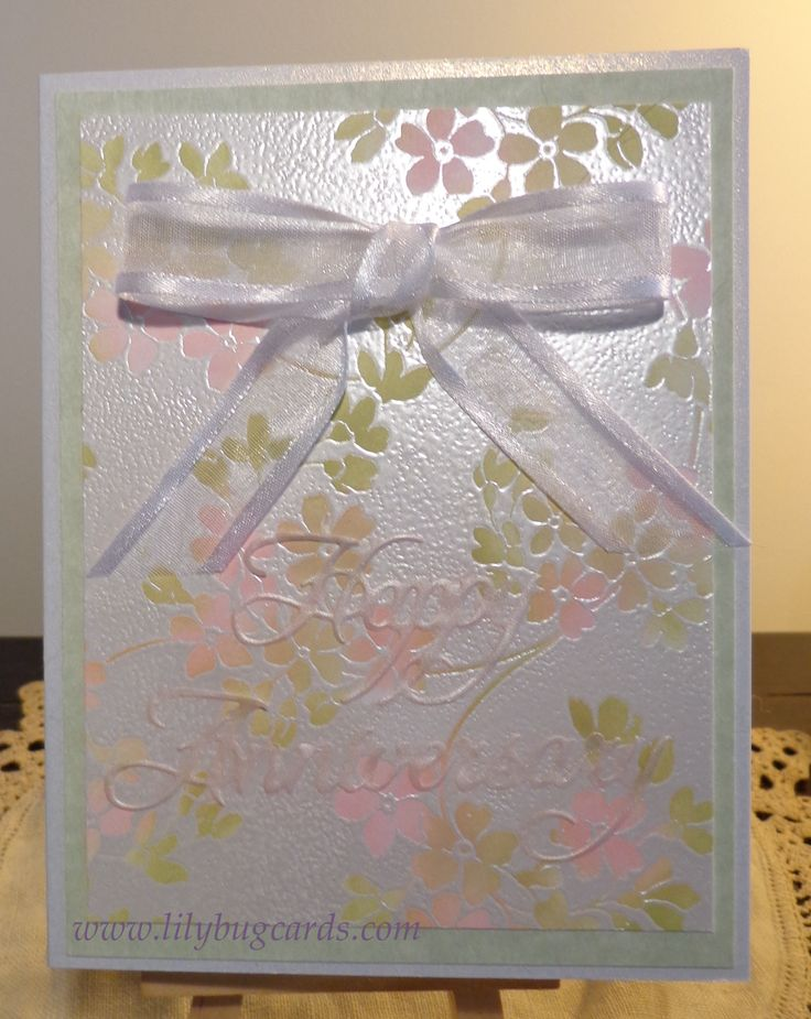 Total embossed flora.  Details on blog as always and a close up of the Happy Anniversary die cut area