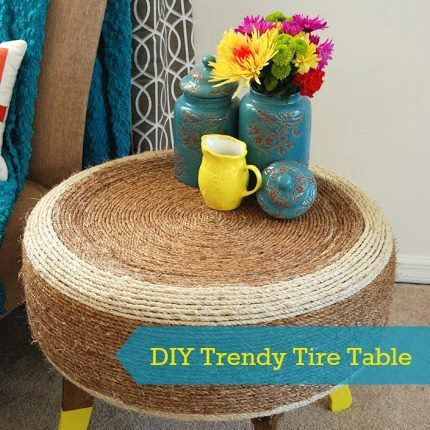 DIY Tire Table #lounge #furniture #home #cooking #kitchen#home #indoors #outdoors #DIY #crafts #upcycle #yourhomemagazine