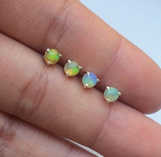 Image of Ethiopian Opal Earstuds {Sterling Silver}