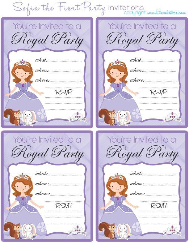 Best Princess Sofia Images On Pinterest Princesses Birthday - Birthday invitation template sofia the first