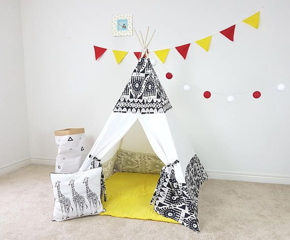 Good Eye Folk Combo White Teepee  With Poles Kid's