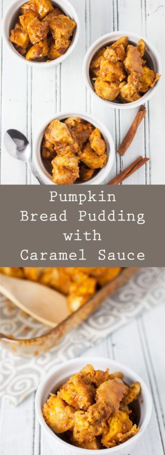 Pumpkin Bread Pudding with Caramel Sauce - A decadent pumpkin bread pudding recipe full of autumn spices, baked to perfection, and topped with a rich caramel sauce.