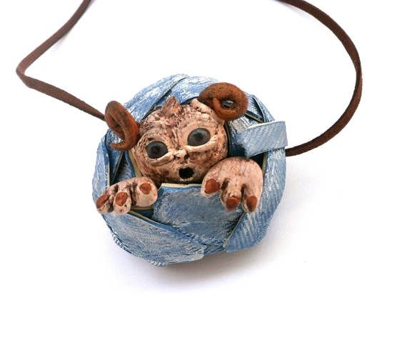 Little monster necklace polymer clay horned creature by Lijoux