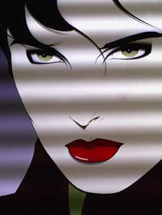 Patrick Nagel Mandarin art illustration  woman in shadows