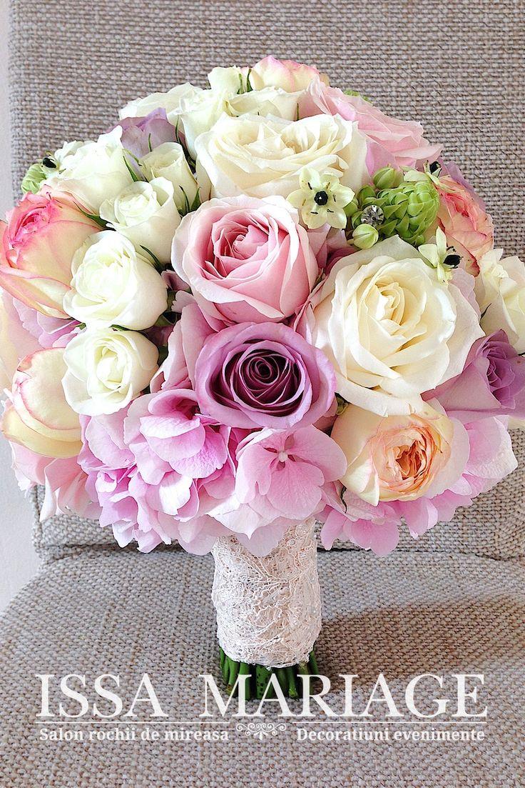 buchet mireasa hortensia roz si trandafiri lila
