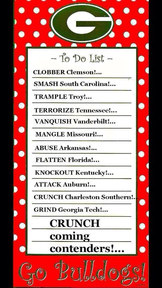 2014 Dawgs To Do List. One is already done! Unfortunately, we lost to South Carolina gamecocks 35-38:'( - we need to work on out defense. We trampled Troy today 66-0! go Dawgs!! The Dawgs played a nail biter against Tennessee today 35-32, but I am proud of my boys of fall!! These boys are miracle workers with a 4-1 record!! They vanquished Vanderbilt today with a score of 44-17!! Keep it up! The dawgs beat Missouri 34-0!!