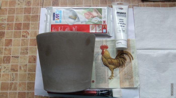Motivo Pot, pintura, pasta de modelar.