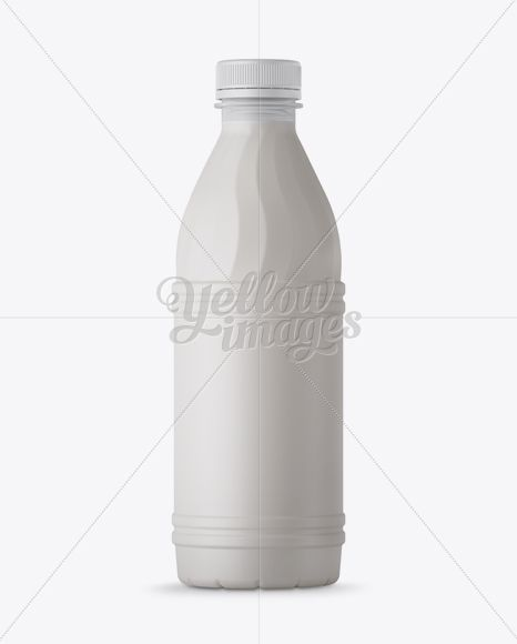 Matte Plastic Milk Bottle Mockup - Front View