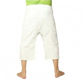 Pantalones cortos pescador tailandés pesada de algodón - blanco