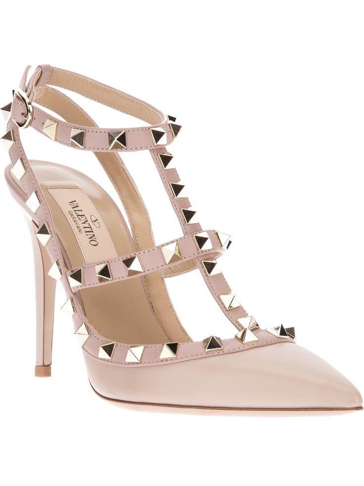 Valentino Garavani Nude 'Rockstud' Stappy Pumps #Shoes #Heels #Rockstuds