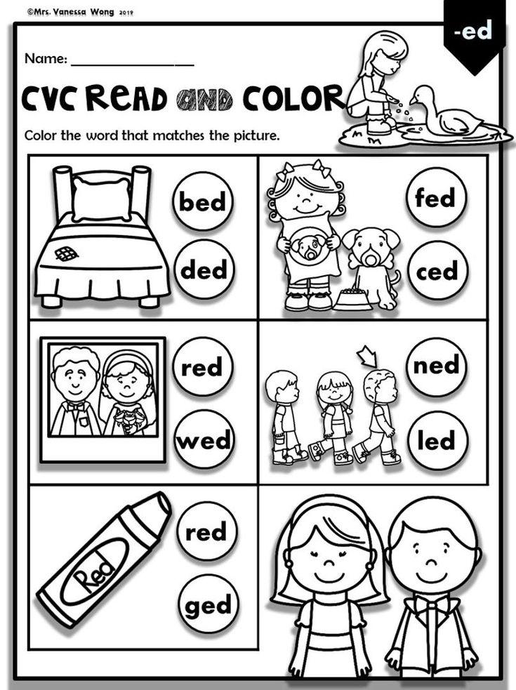 Phonics Worksheets-CVC Read and Color. PreK/Kindergarten