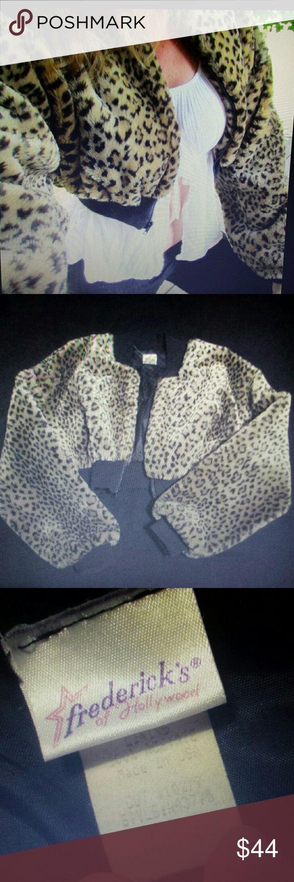 Vintage Faux Leopard Crop Jacket medium Fredericks Vintage 90s faux fur crop zip front jacket from Fredericks of Hollywood ..great bold Leopard print...fully lined... Frederick's of Hollywood Jackets & Coats